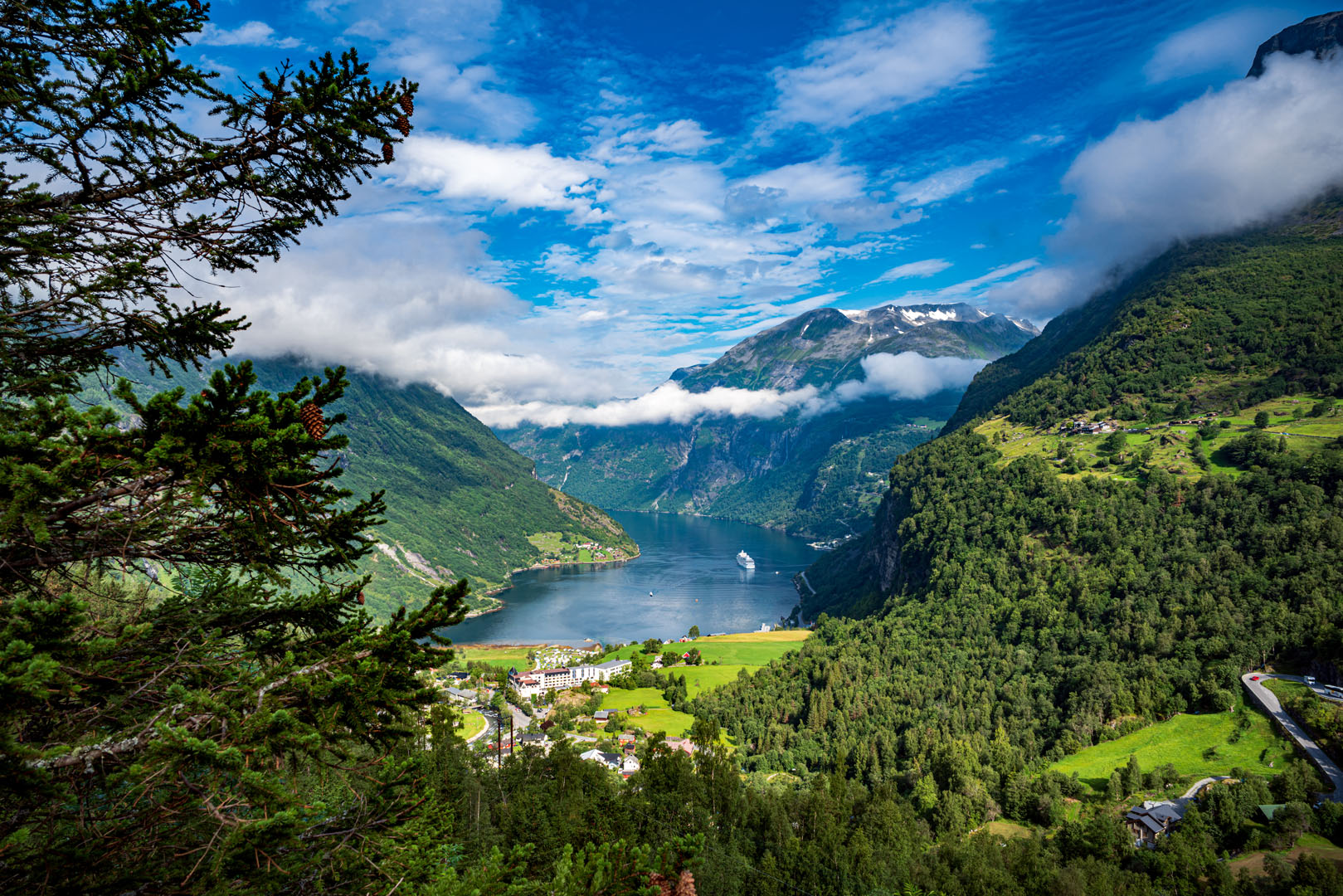Picture of Geiranger fjord in Norway.