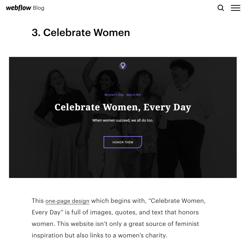 Mirela Prifti project featured on the webflow blog
