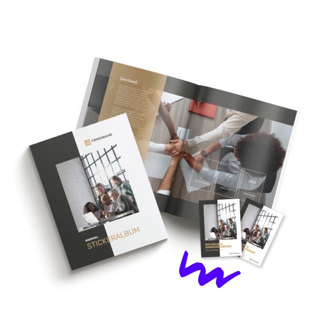 Offenes Stickeralbum mit Stickerpacks