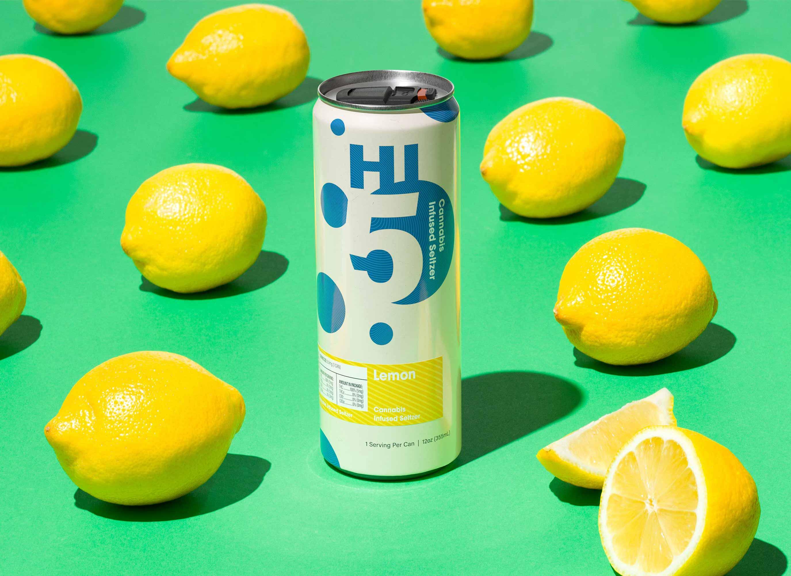 Hi5 Cannabis Seltzer Lemon flavor with lemons