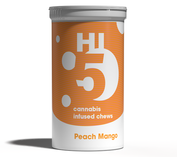 Peach Mango cannabis chews packaging