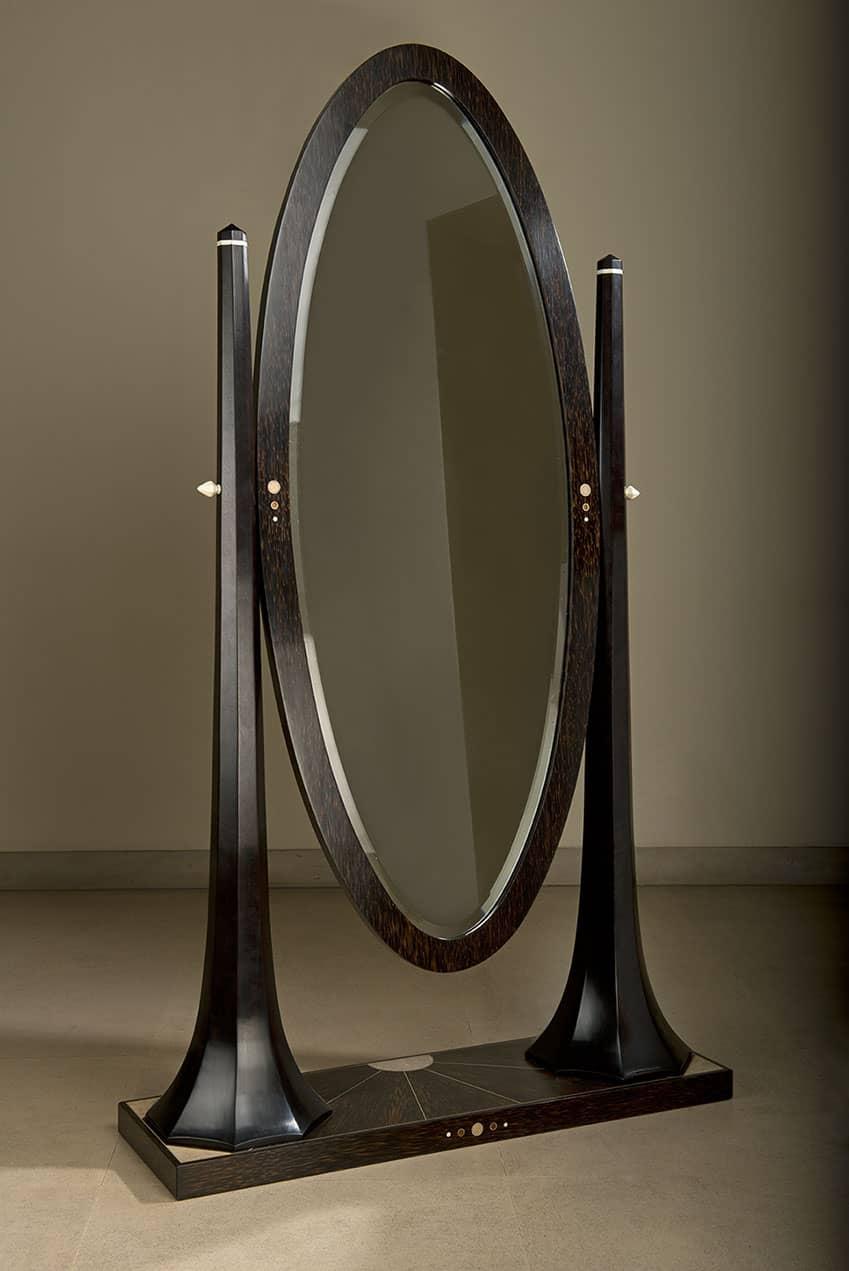 Miroir pivotant en bois de palmier et amarante teintée brun foncé