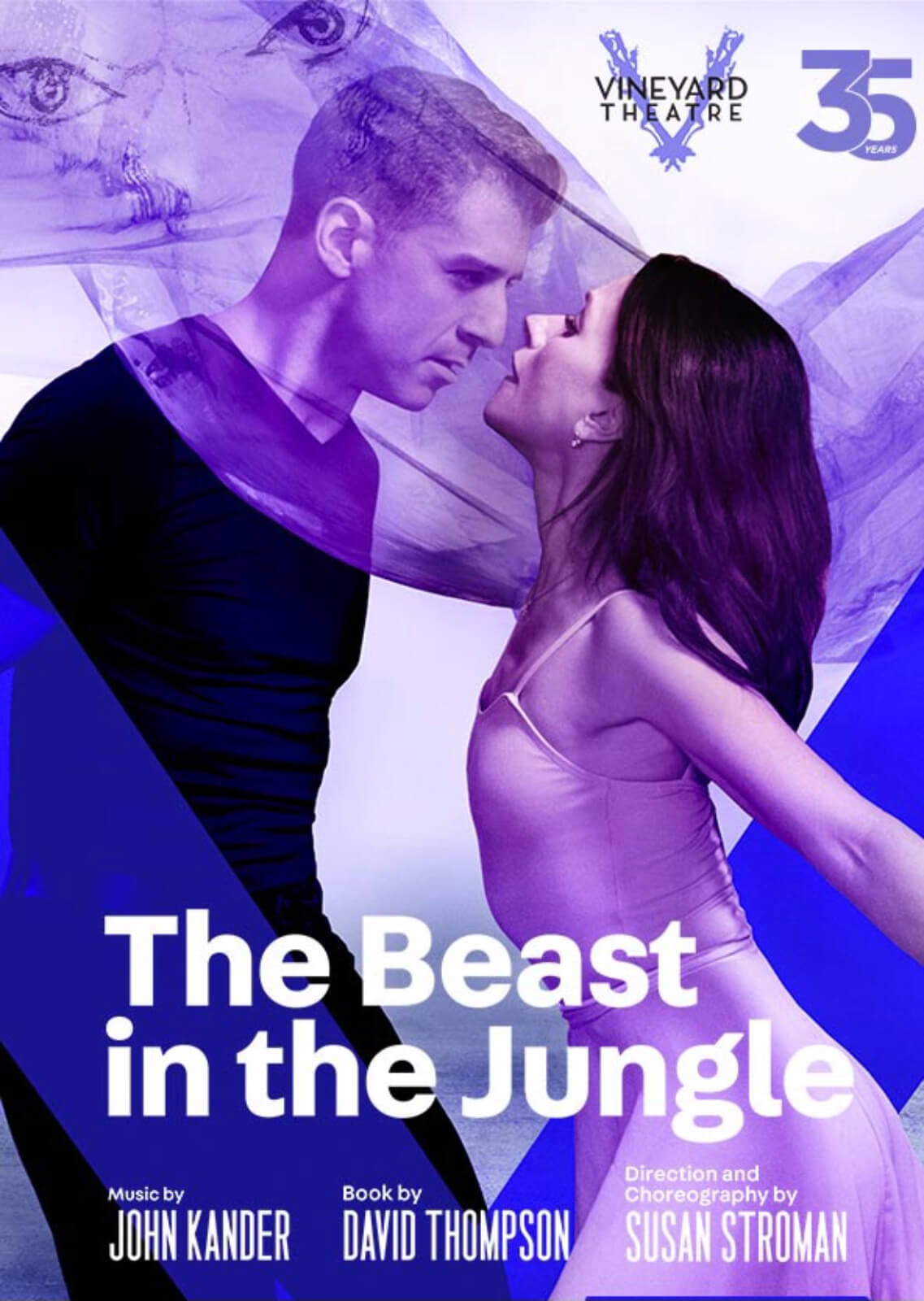 Poster for The Beast in the Jungle, featuring Tony Yazbeck and Irina Dvorovenko almost kissing inside silks.