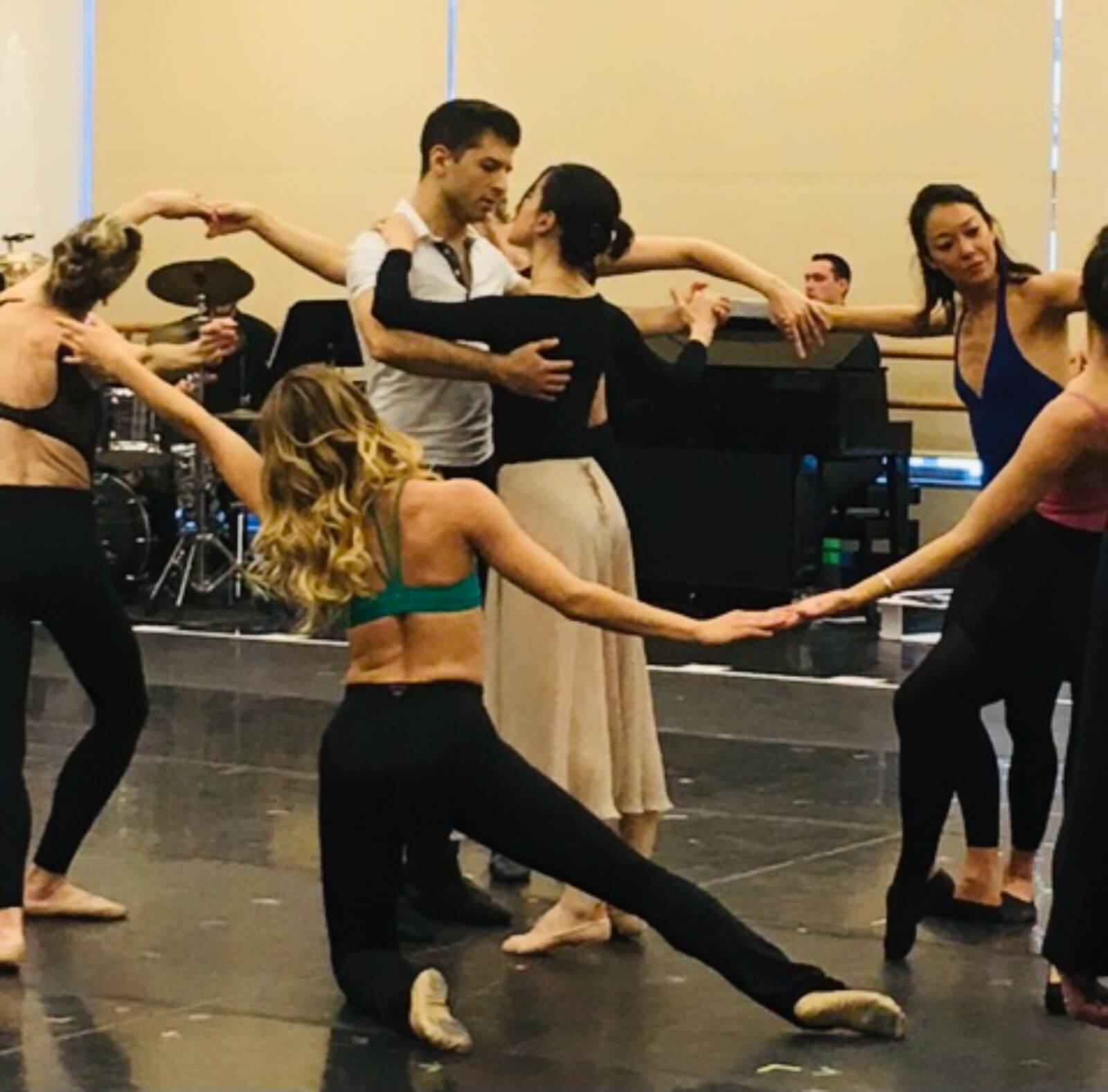 The company of The Beast in the Jungle rehearsing a moment inspired by the artist Matisse.