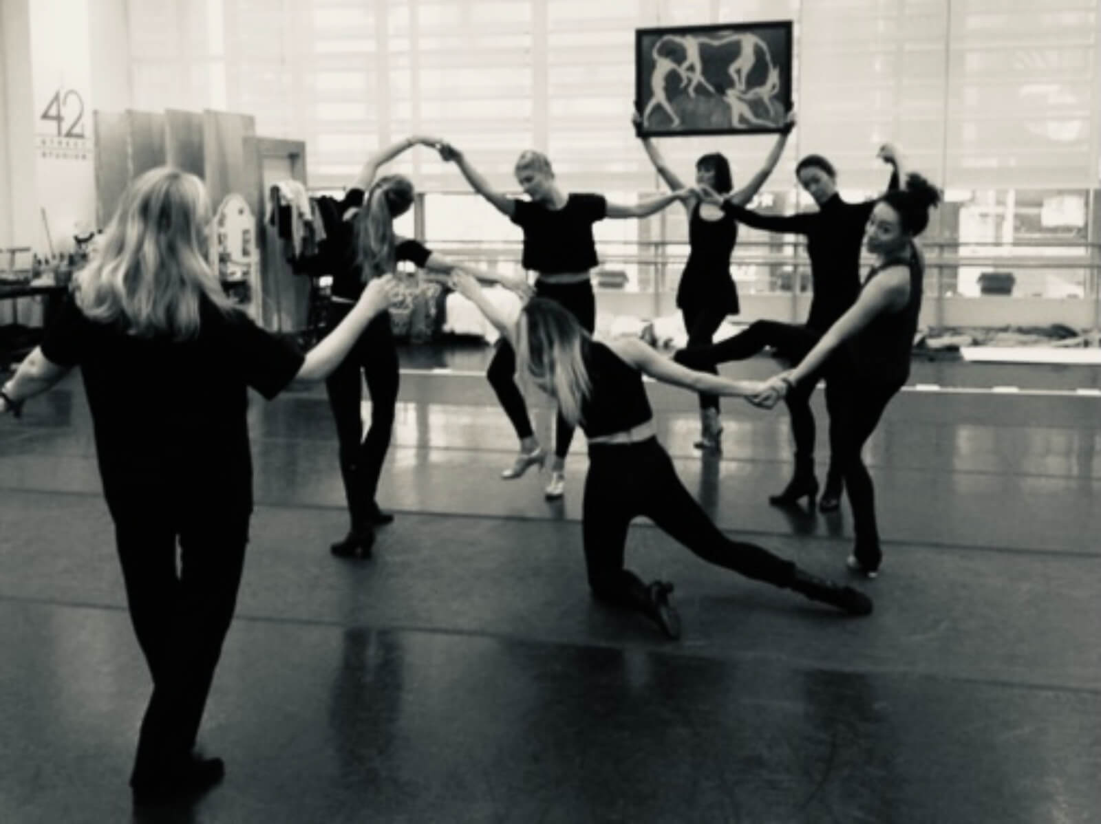 Susan Stroman working on the Matisse moment with the dancers in rehearsal.