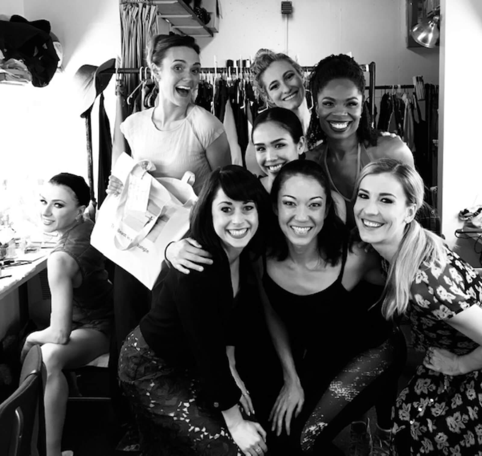 Irina Dvorovenko, Leah Hofmann, Sara Esty, Maira Barriga, Elizabeth Duga Crumrine, Naomi Kakuk, Erin N Moore, and Brittany Marcin Maschmeyer backstage at The Beast in the Jungle.