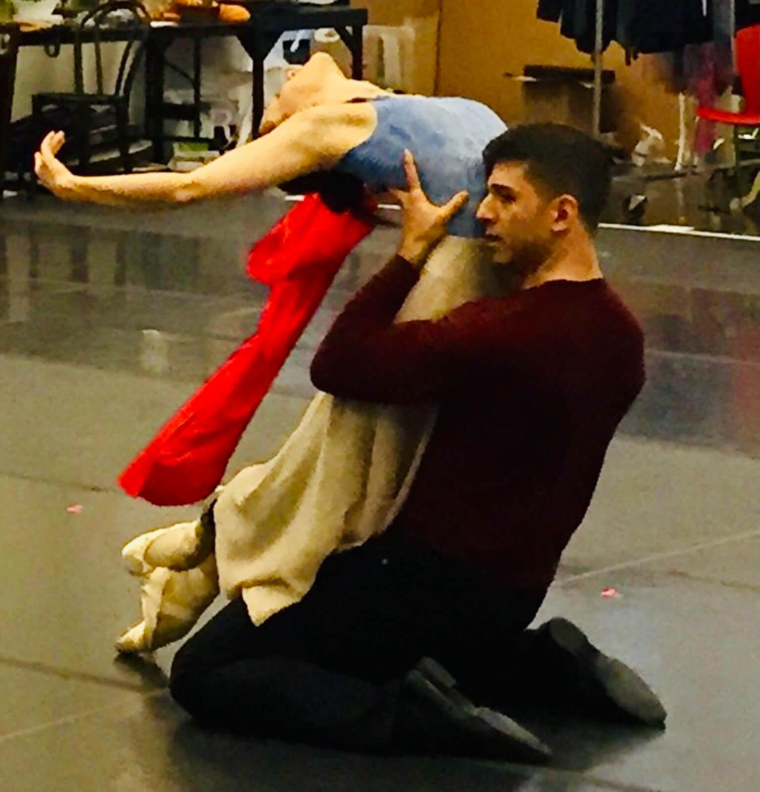 "Tony Yazbeck and Irina Dvorovenko rehearsing the ""Pizzica Duet"""