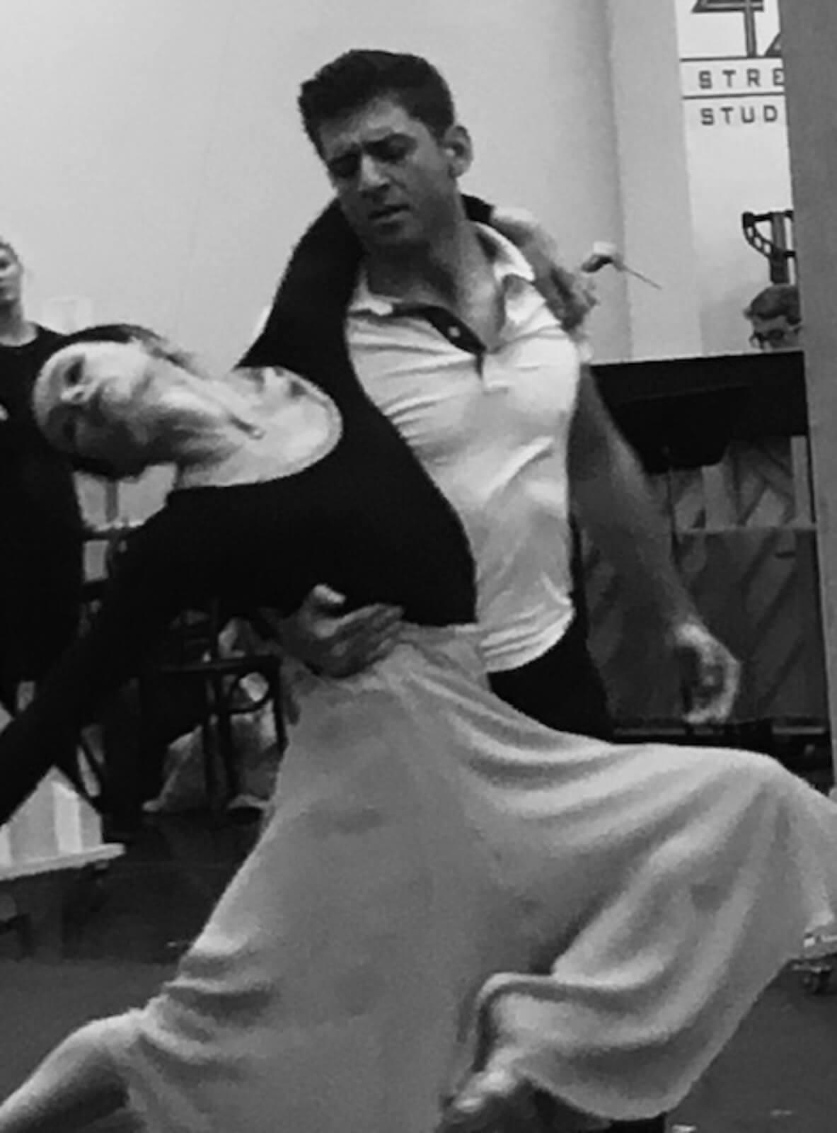 Tony Yazbeck with Irina Dvorovenko dancing in rehearsal for The Beast in the Jungle.