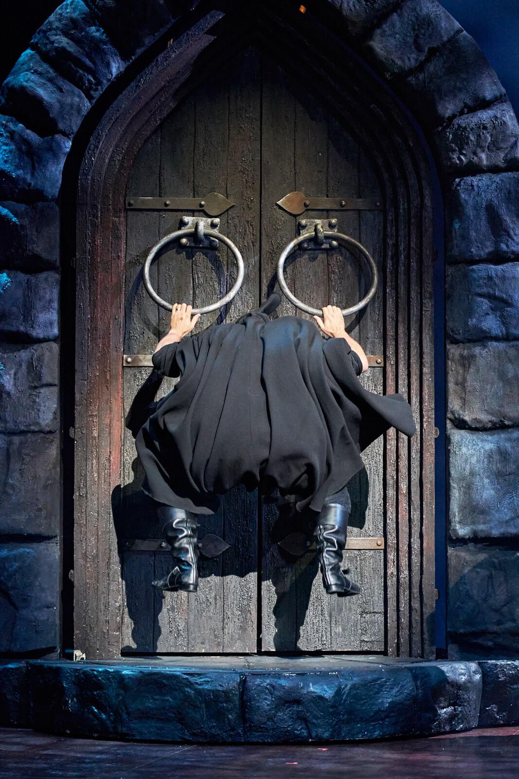 Igor (Ross Noble) grabs the big knockers on the castle door.