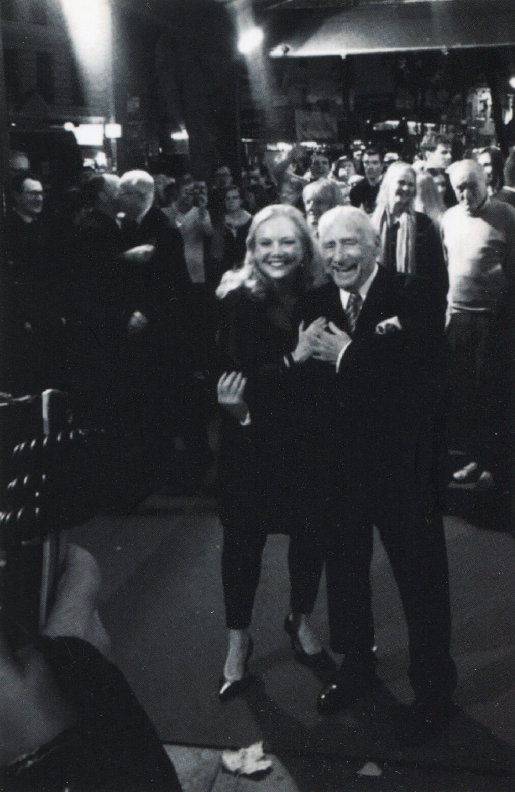 A black and white photo of Susan Stroman and Mel Brooks on the Red Carpet at the opening night of Young Frankenstein (West End).