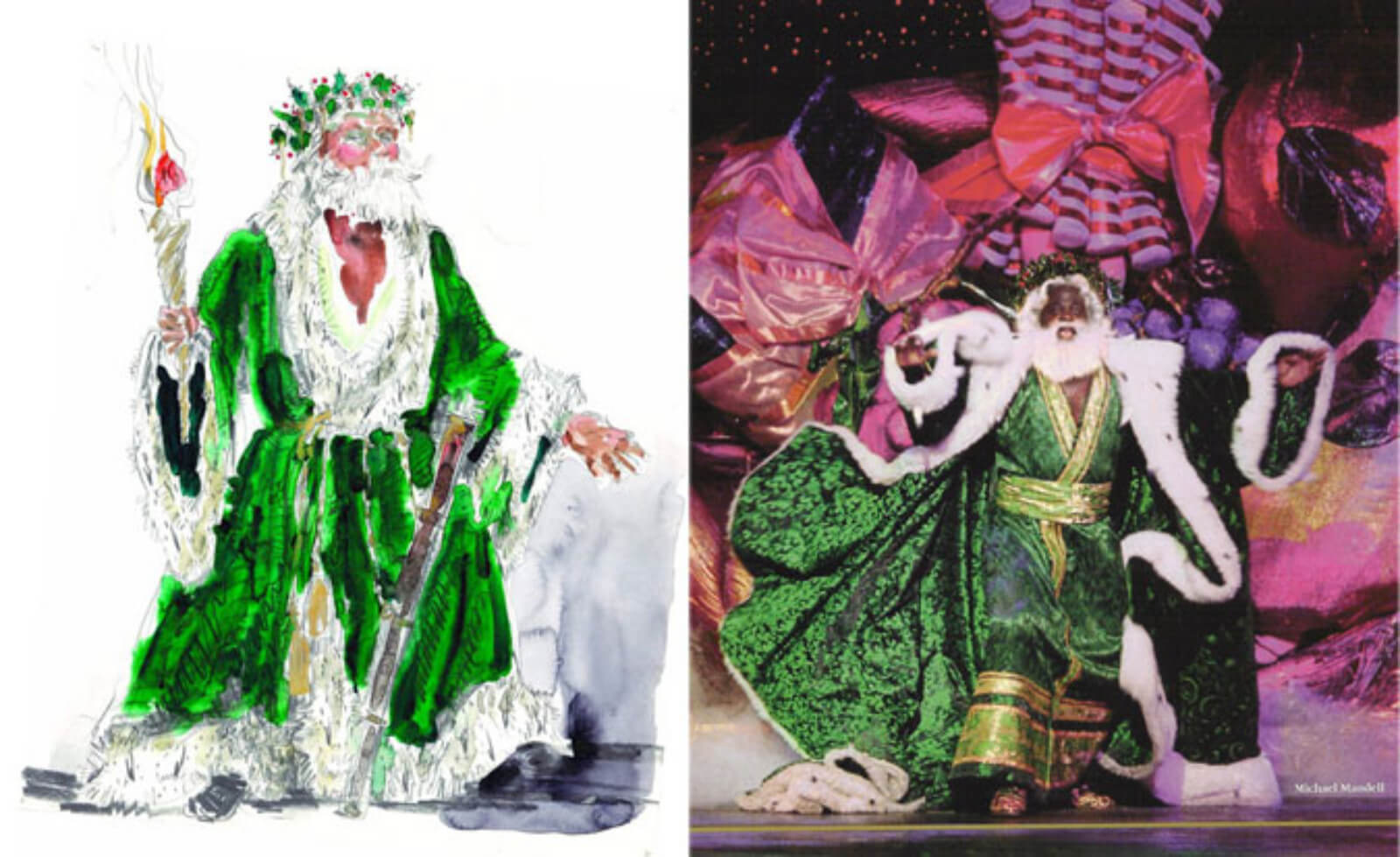The Ghost of Christmas Present (Michael Mandell) to the right of an illustration of the green flowing conceptual costume