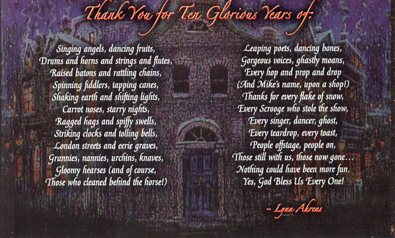 A poem thanking patrons of the show by Lynn Ahrens over top of an illustration of a snowy village.