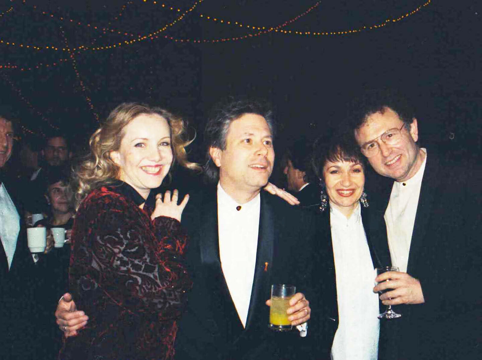 Susan Stroman, Alan Menken, Lynn Ahrens, and Mike Ockrent dressed up on the opening night of A Christmas Carol.