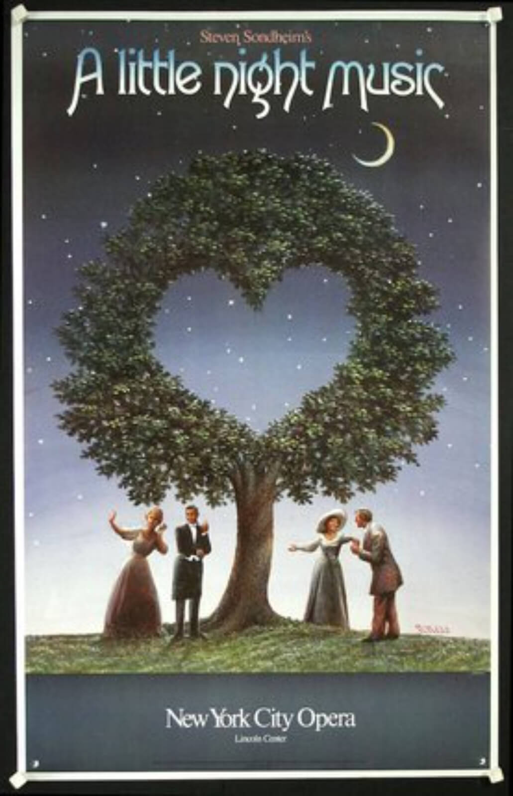 The official production poster of the New York City opera production containing 4 characters standing under a tree