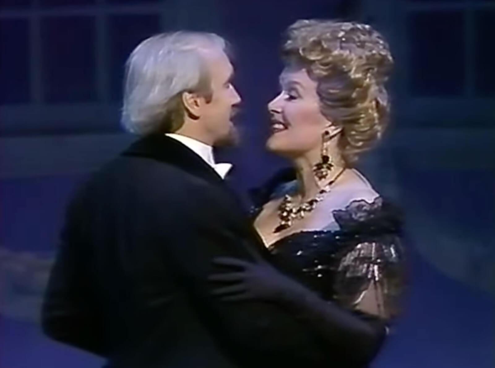 George Lee Andrews as Fredrik Egerman and Sally Ann Howes as Desiree Armfeldt waltzing in A Little Night Music.
