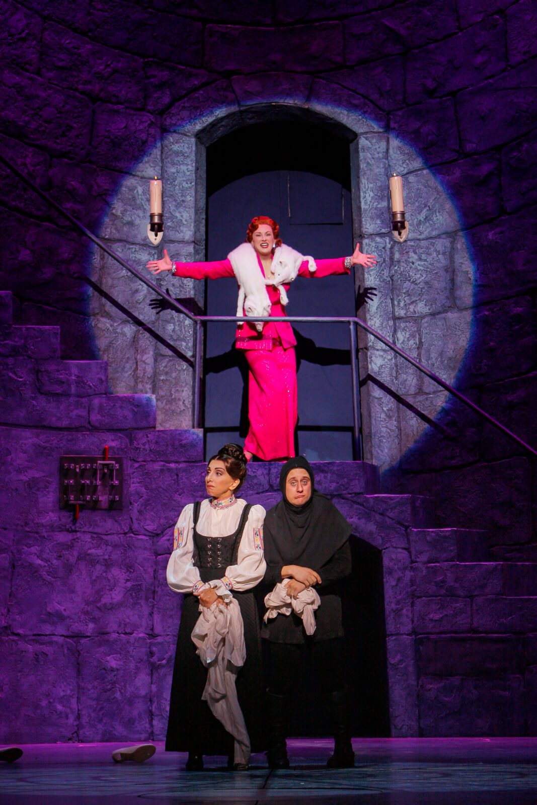 """Elizabeth (Megan Mullally) sings """"It's Me"""" in a hot pink pant suit high on a stair unit with Frau Blucher (Andrea Martin)and Igor (Chris Fitzgerald) in the foreground."""