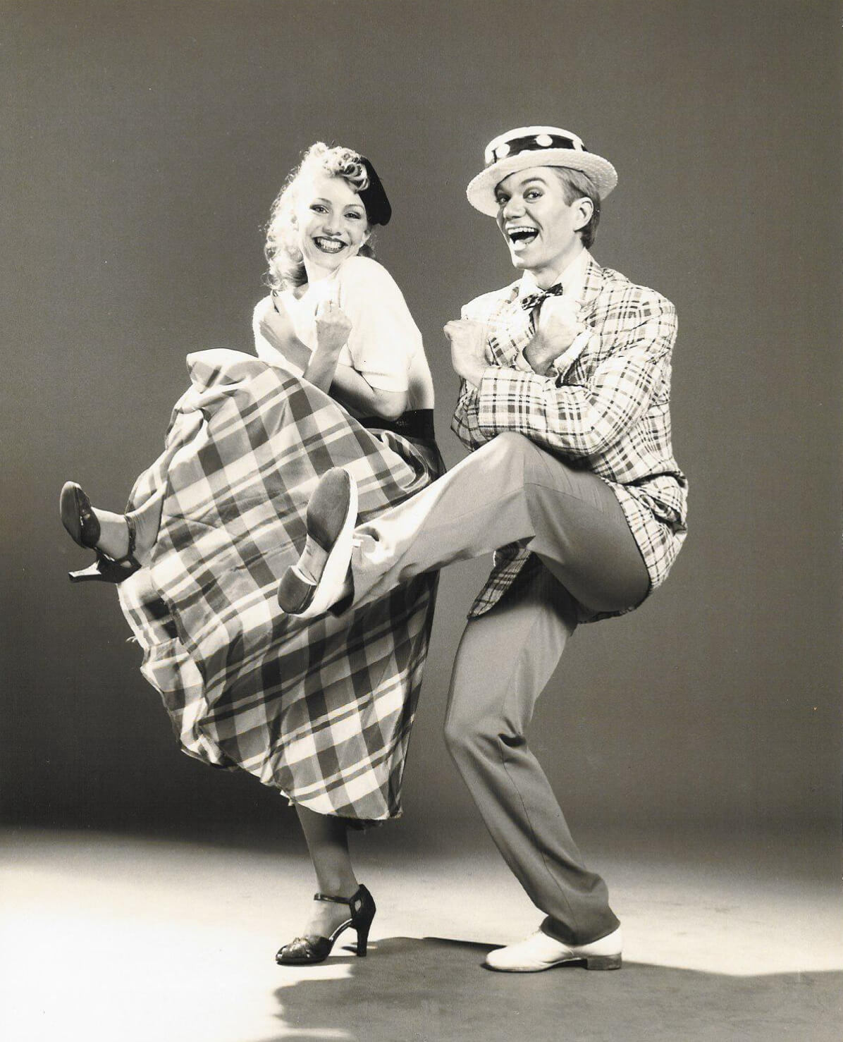 """Susan Stroman and Jeff Veazey dance to, """"How Could You Believe Me When I said ILove You When You Know I've Been A Liar All My Life?"""" They are doing a vaudeville dance step."""