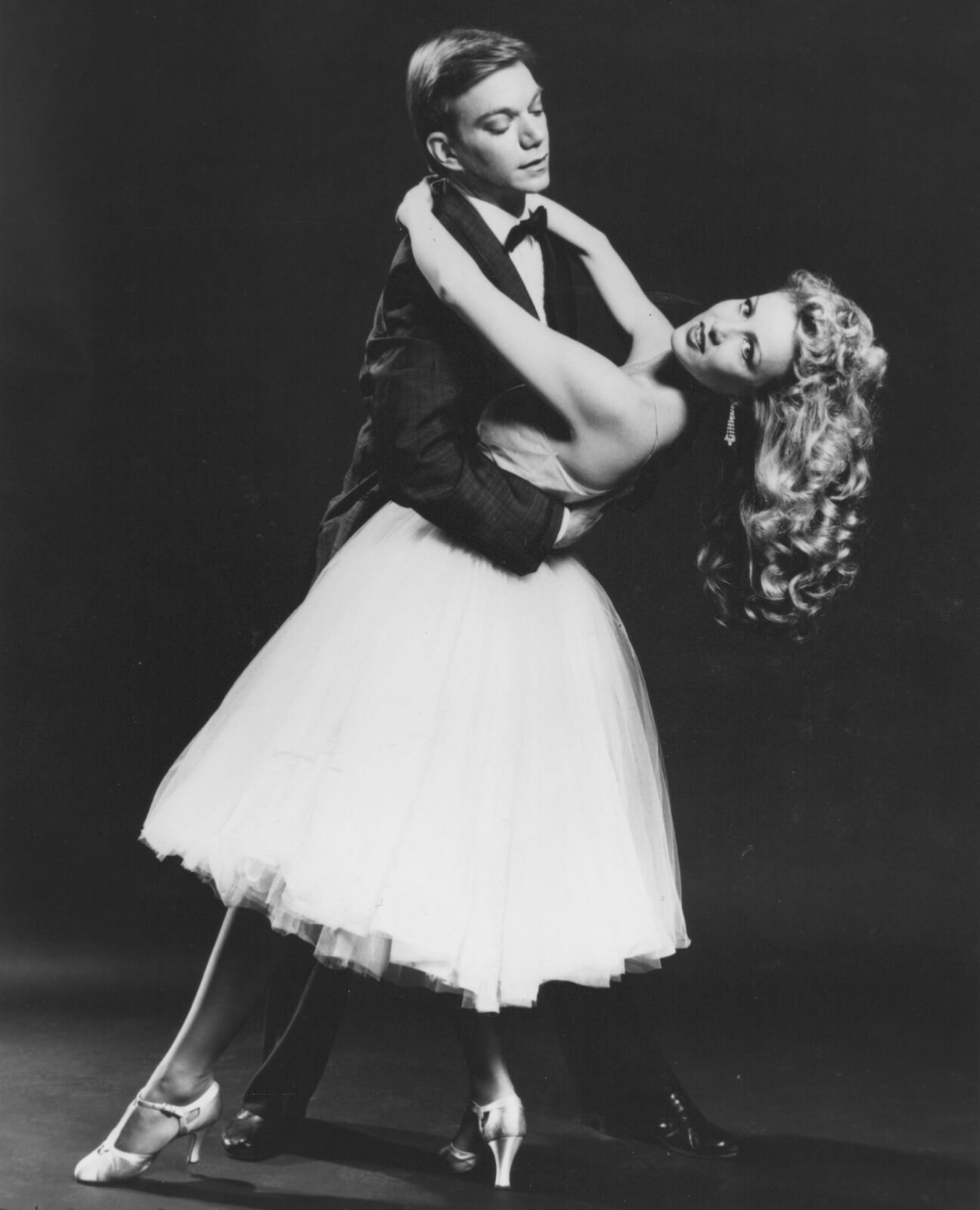 """Jeff Veazey and Susan Stroman dancing to """"The Best Things Happen While Your'e Dancing"""". Jeff has Susan in a dip with her focus out front."""