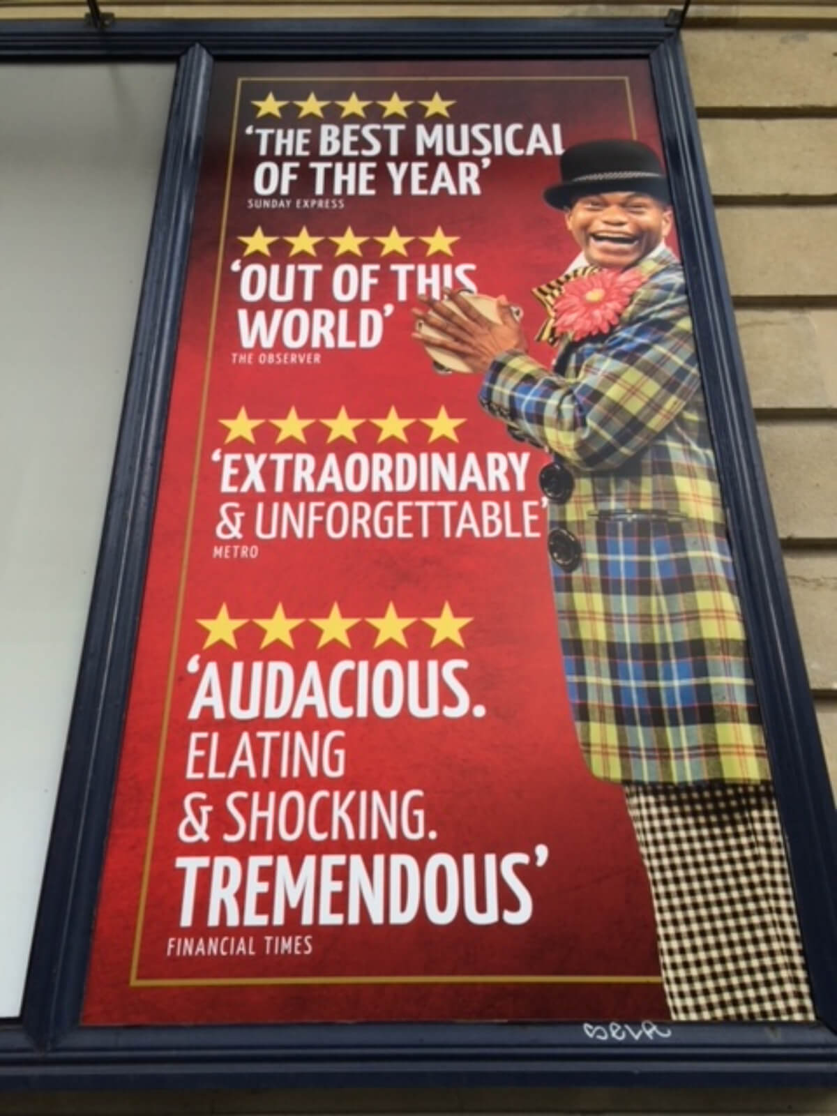 The Scottsboro Boys West End poster showcasing its outstanding reviews—all five star ratings.