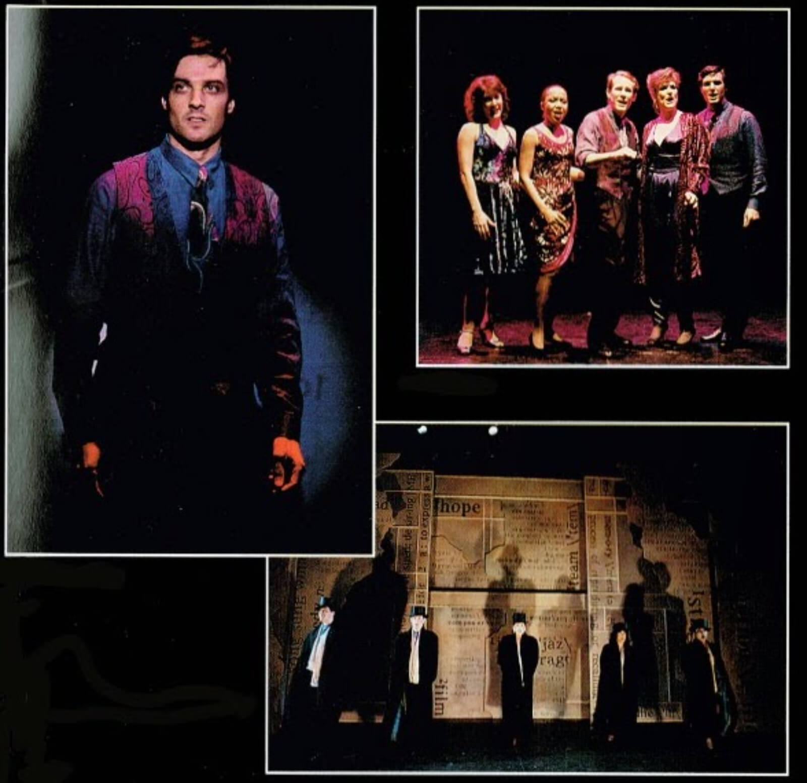 A montage of the cast in various scenes.