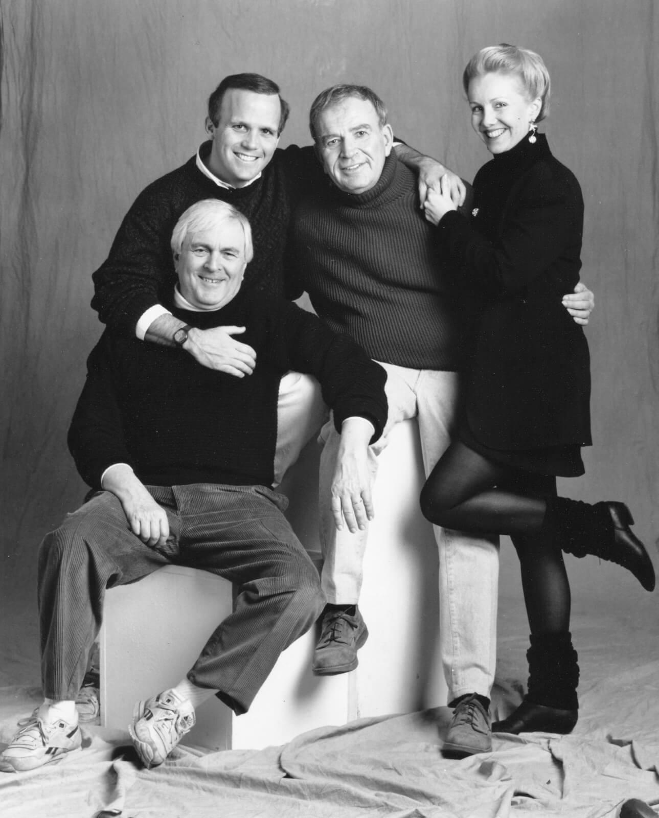 Black and white press photo of the creative team John Kander, Scott Ellis, Fred Ebb and Susan Stroman