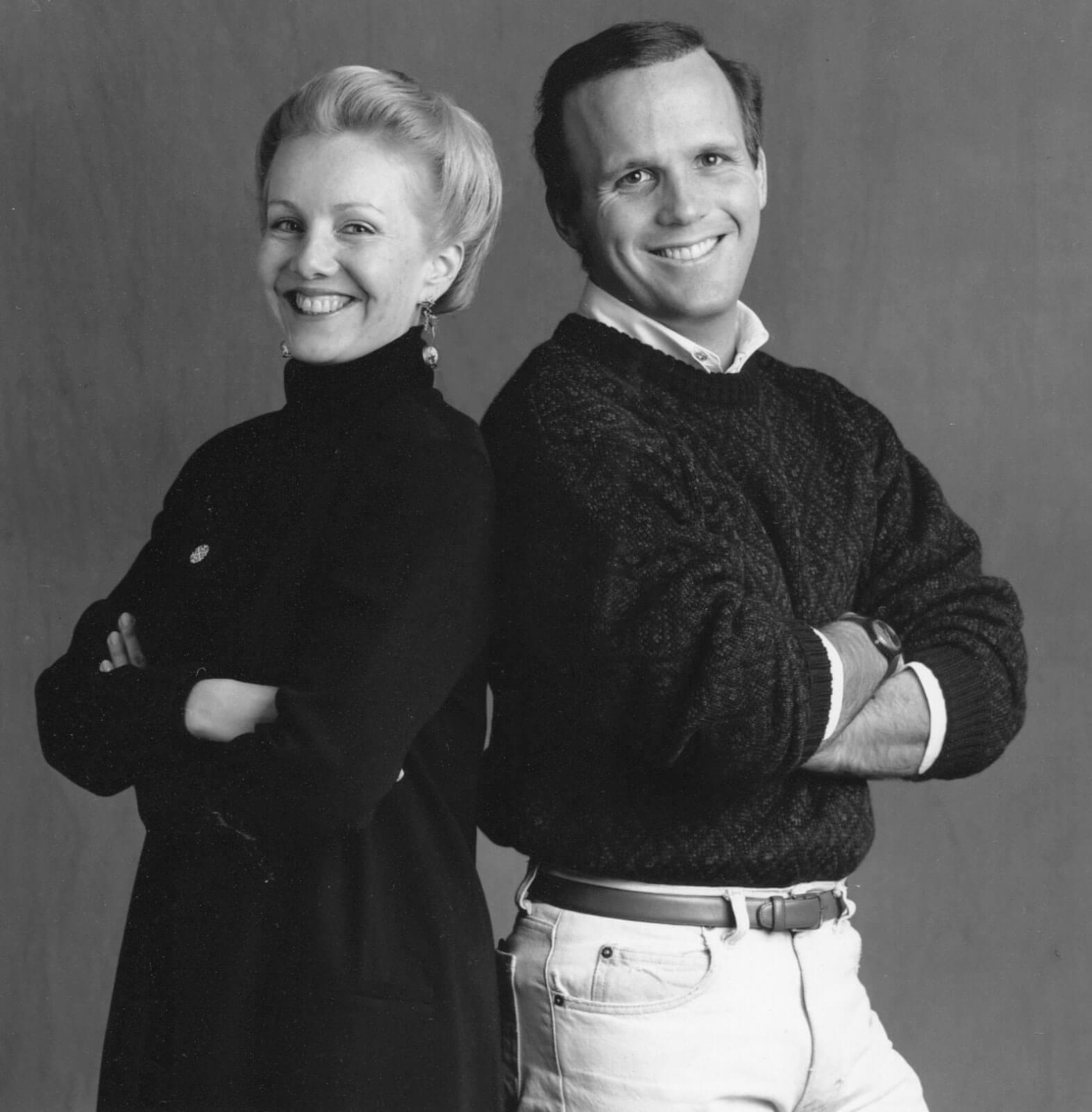 A black and white press portrait of Susan Stroman and Scott Ellis
