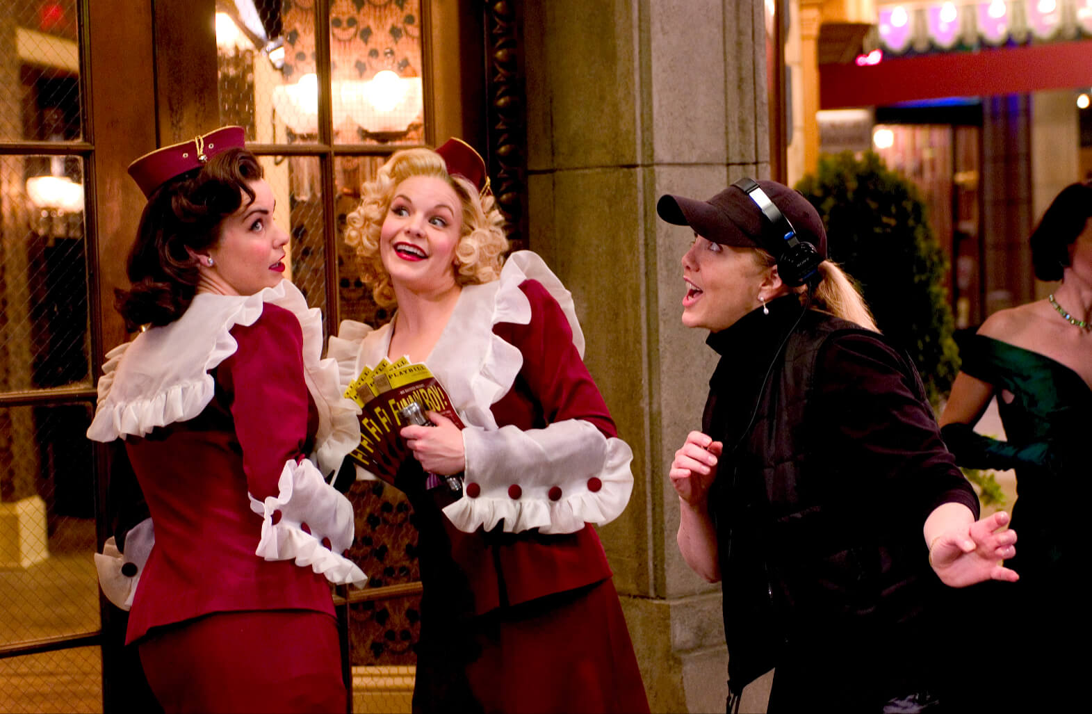 """Susan Stroman and Usherettes, Meg Gillentine and Bryn Dowling rehearse """"Opening Night"""". Stro is directing Meg and Bryn."""