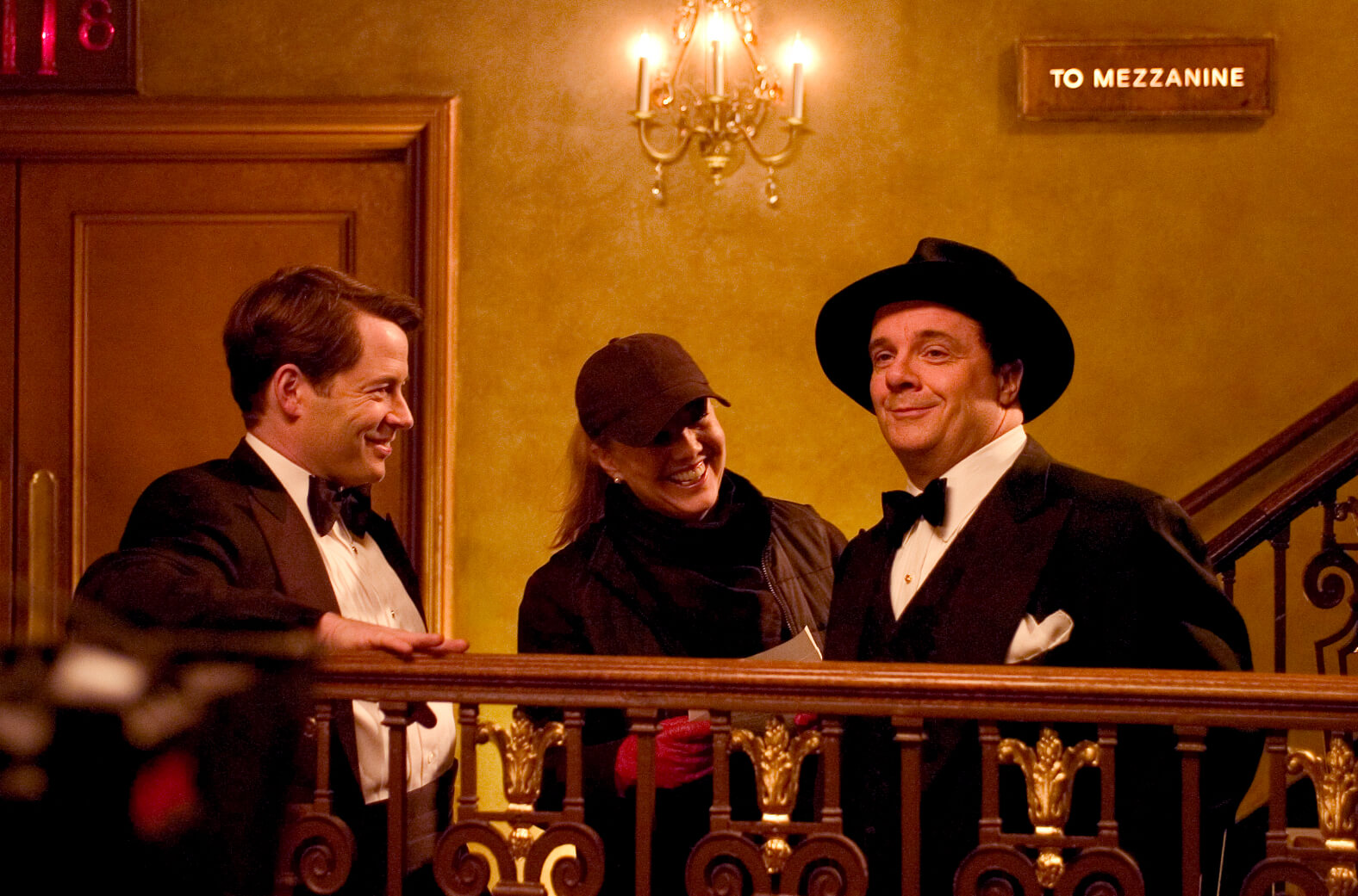Matthew Broderick as Leo Bloom, Director Susan Stroman and Nathan Lane as Max Bialystock rehearsing in the back of The St. James Theatre. Nathan is making Matthew and Stro laugh.