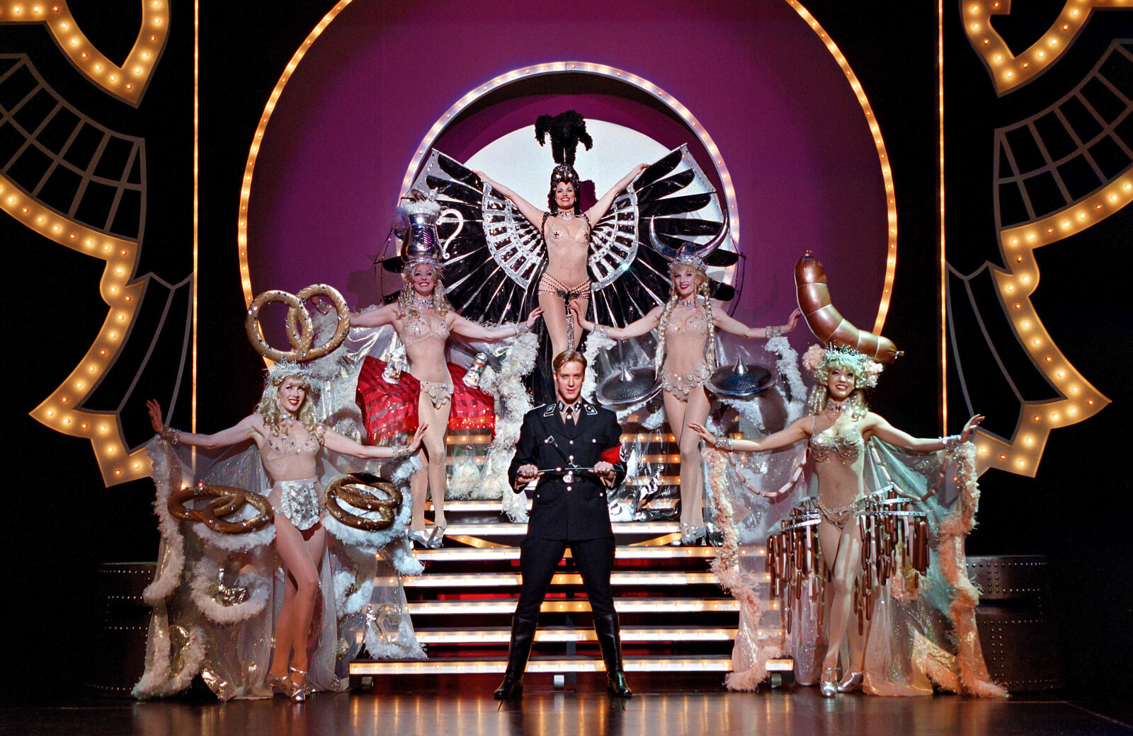"""Eric Gunhus as the Lead Tenor in """"Springtime for Hitler"""" surrounded by the Original Broadway Cast."""