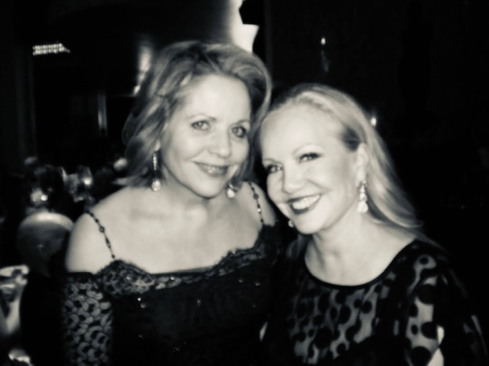 Black and white photo of Renée Fleming and Susan Stroman at the opening night of The Merry Widow.
