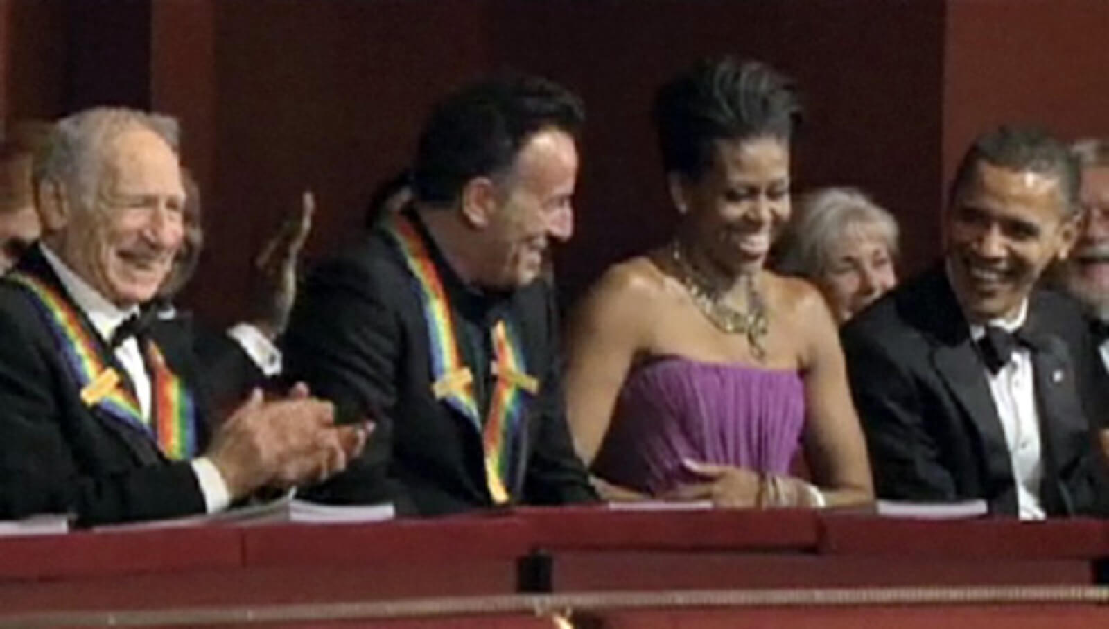 Mel Brooks, Bruce Springsteen, Michelle Obama, and President Barack Obama in the Presidents box at the Kennedy Center.