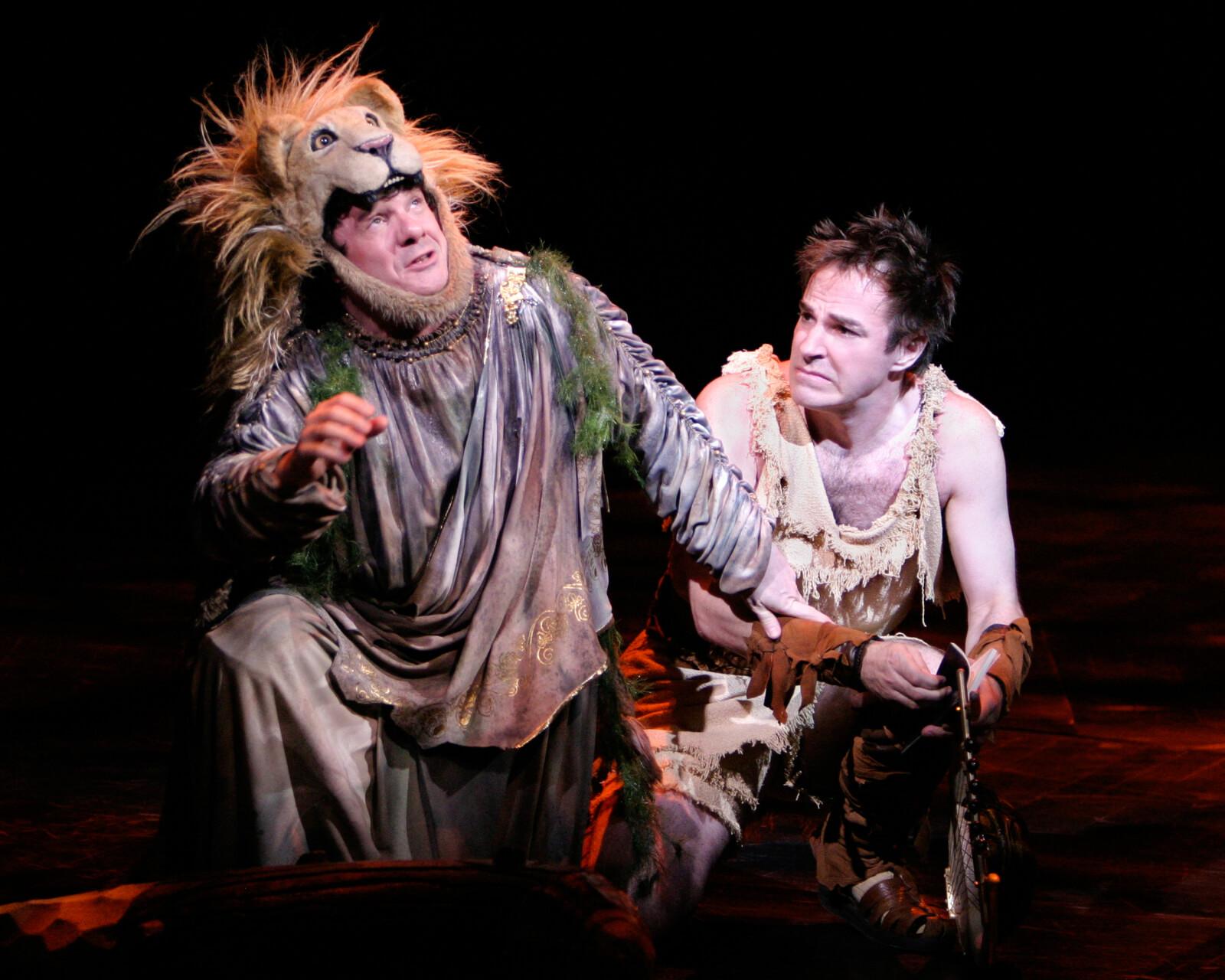 Dionysos (Nathan Lane) and Xanthias (Roger Bart).