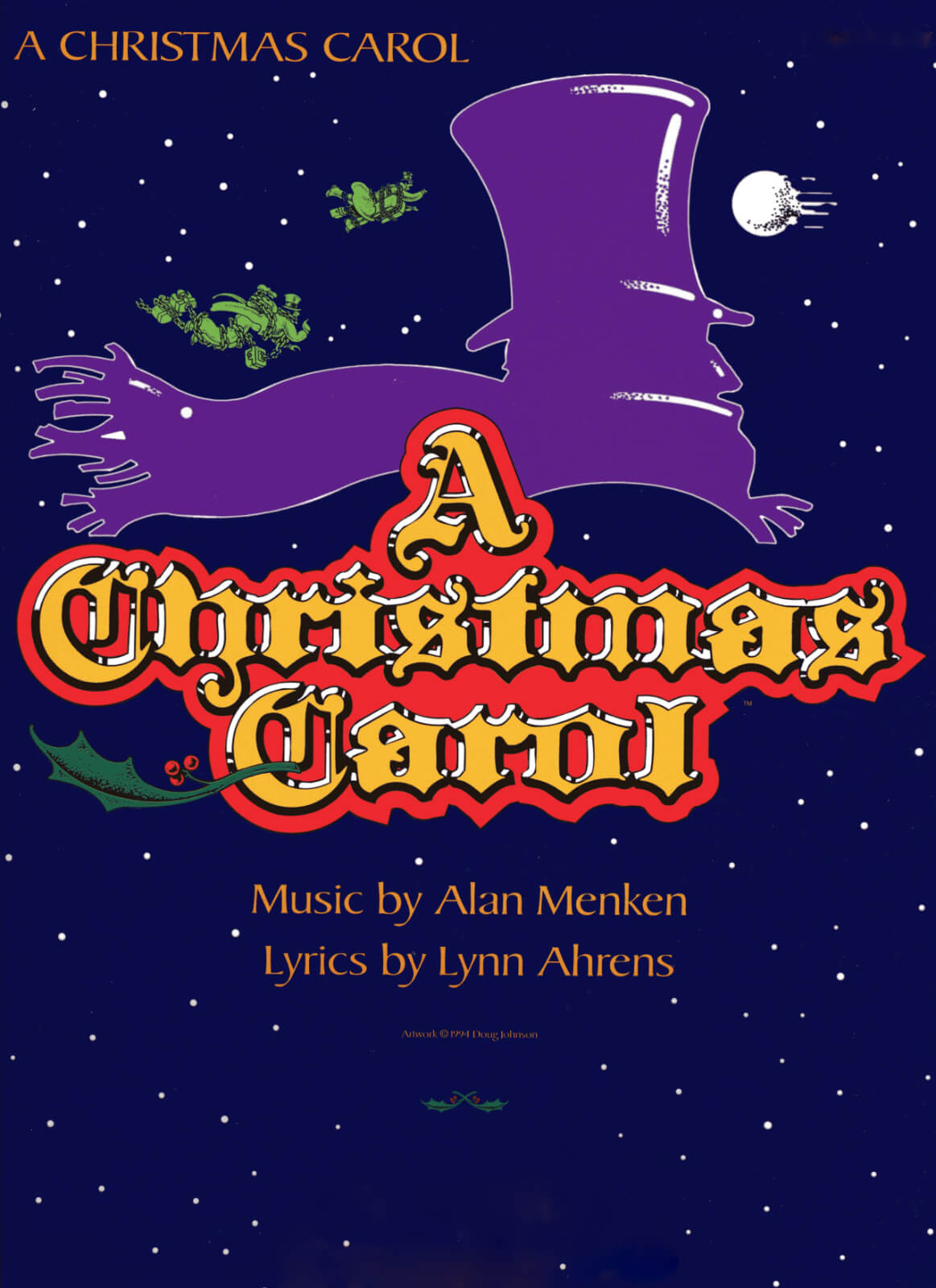 Poster Art for A Christmas Carol shows Scrooge silhouette with top hat and a scarf blowing in the wind.