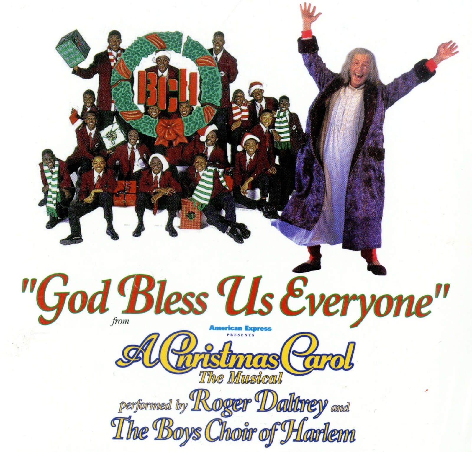 """Album art for the single """"God Bless Us Everyone"""" featuring Roger Daltrey and The Boys Choir of Harlem."""