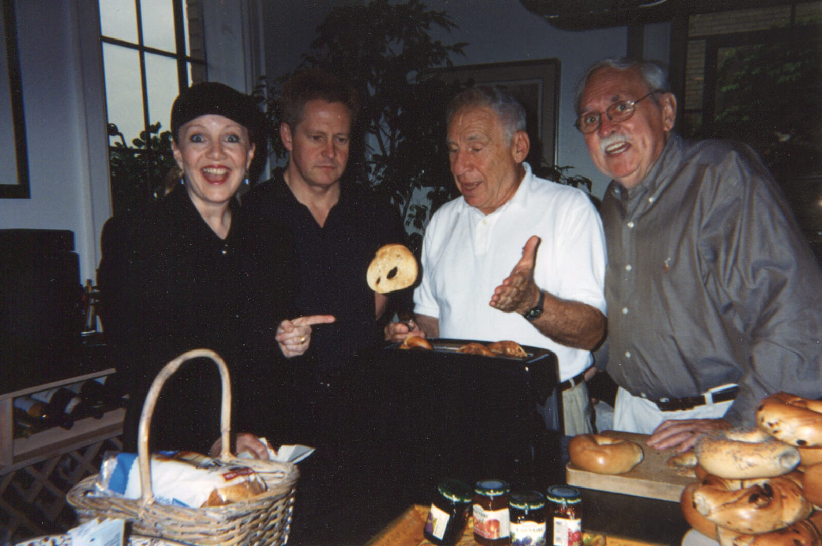 Susan Stroman, Glen Kelly, Mel Brooks, and Thomas Meehan in a creative meeting for The Producers.