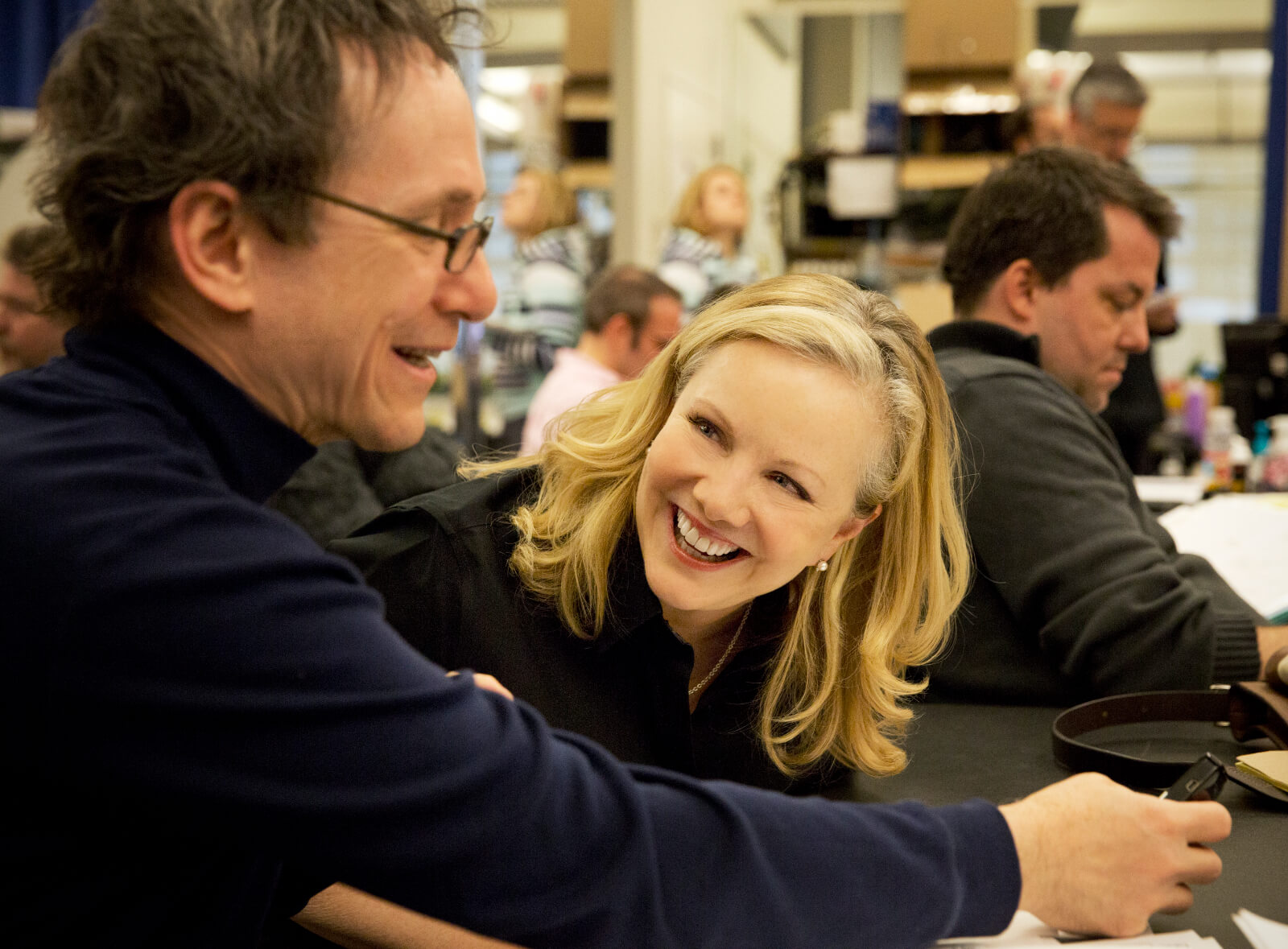 Susan Stroman and Orchestrator Larry Hochman in rehearsal discussing instrumental choices to convey the sounds of water onstage.