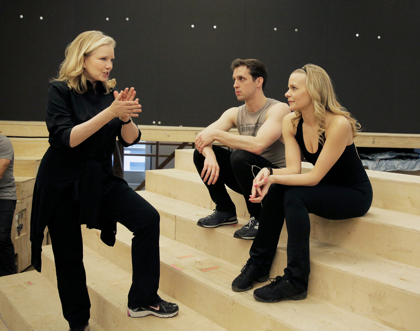 Susan Stroman rehearsing with Jason Lee Garrett & Bryn Dowling, she is directing the actors in the iconic circus scene.