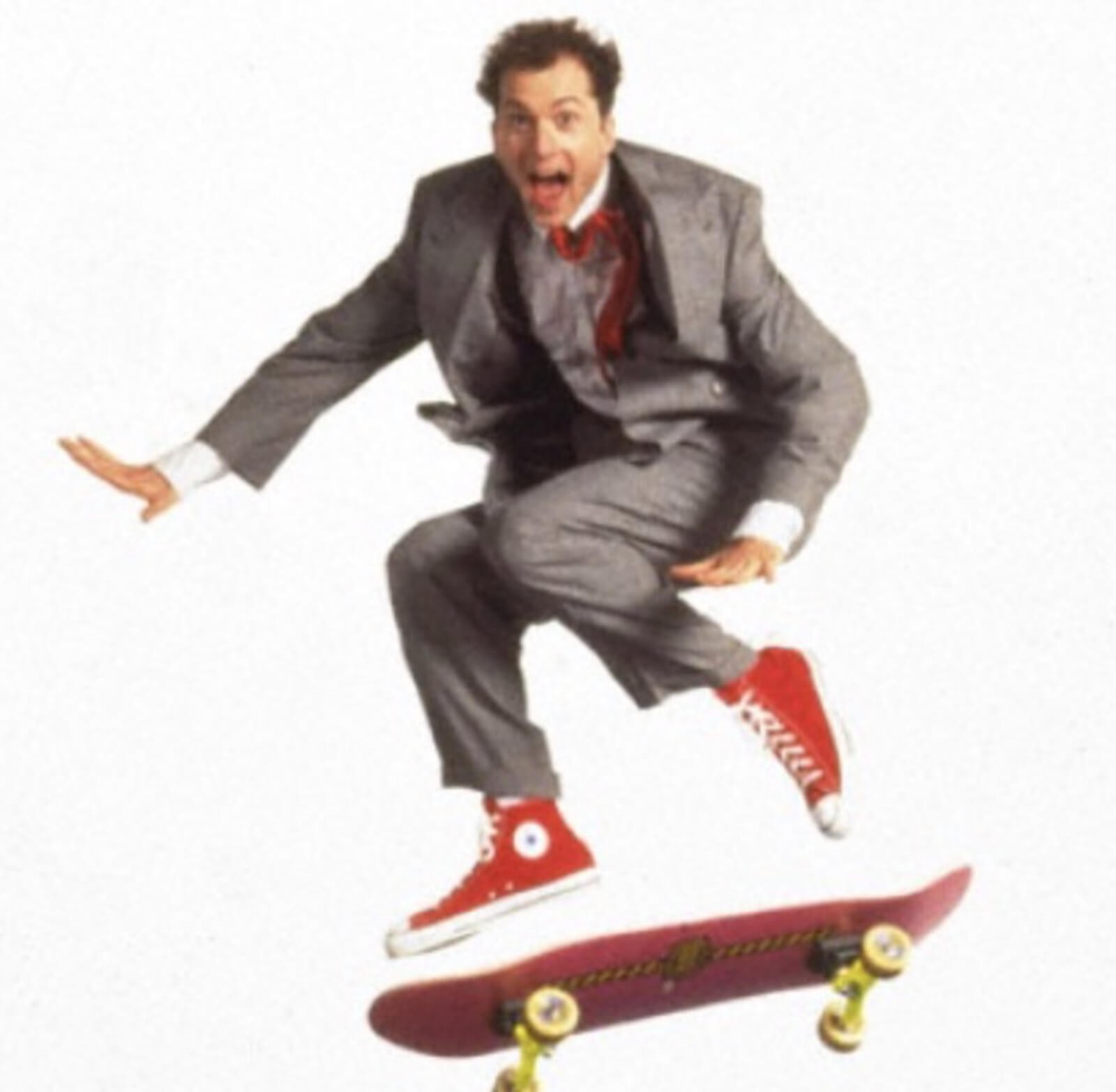 Daniel Jenkins in Big The Musical with a skateboard