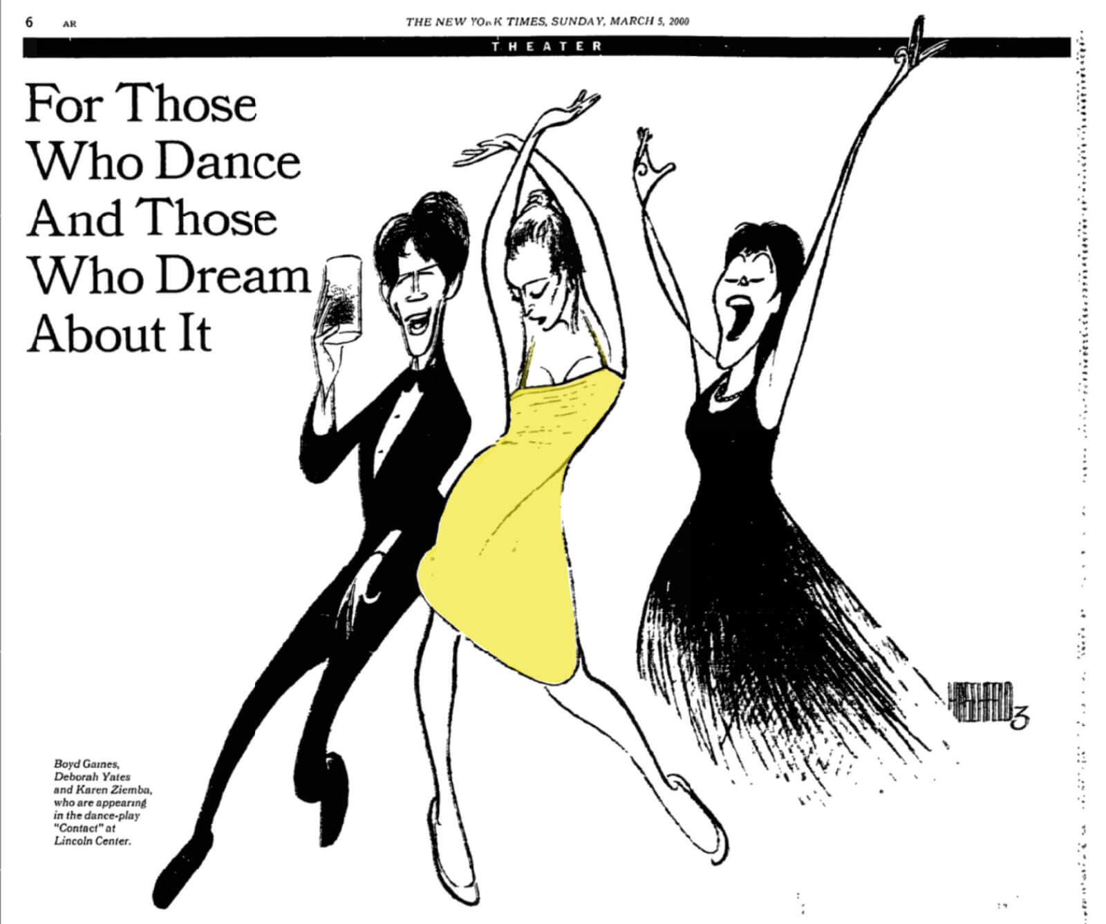 New York Times illustration by Al Hirschfeld published March 5th, 2000 depicting Michael Wiley (Boyd Gaines), Girl in a Yellow Dress (Deborah Yates), and Wife (Karen Ziemba) in Contact