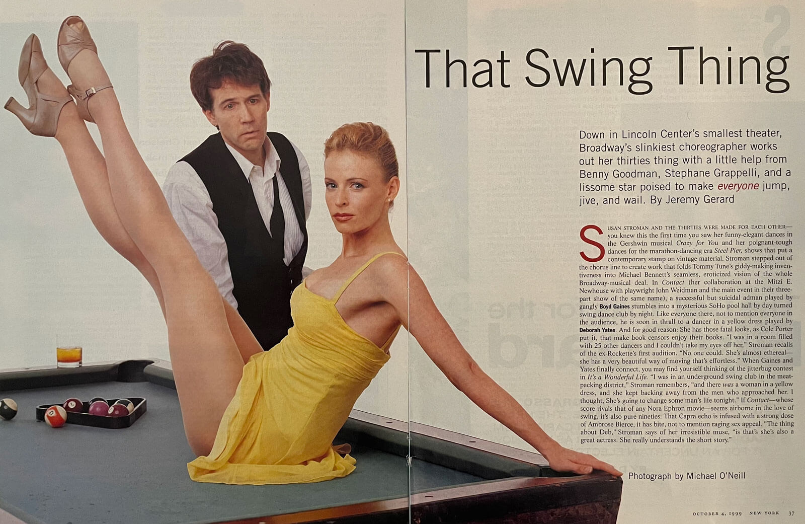 Boyd Gaines as Michael Wiley and Deborah Yates as Girl in the Yellow Dress pose on a pool table for a New York Magazine article entitled That Swing Thing.