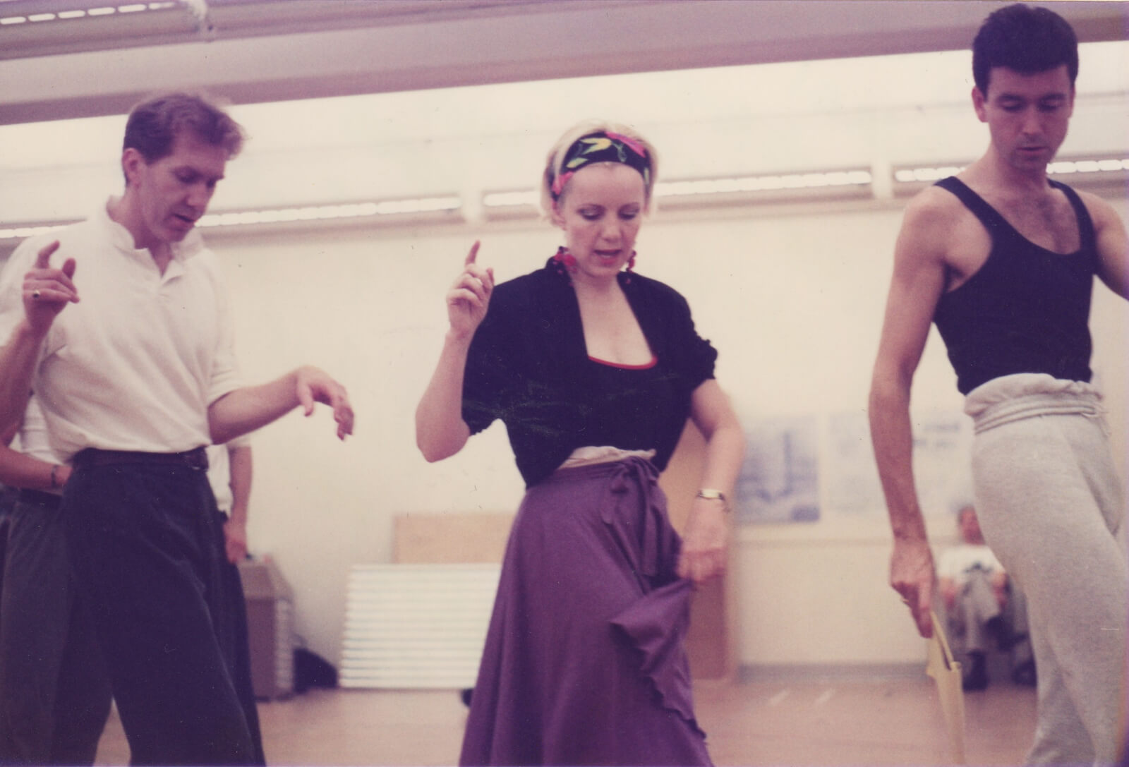 """Harry Groener, Susan Stroman, and Chris Peterson rehearsing """"Slap That Bass"""" from Crazy for You."""