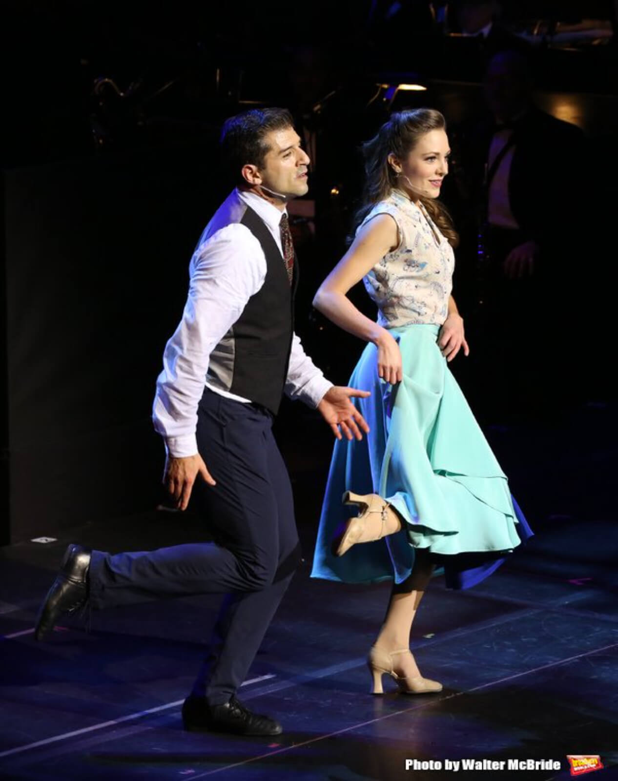 """Tony Yazbeck and Laura Osnes performing """"Shall We Dance"""" in the 25th Anniversary Concert of Crazy for You."""