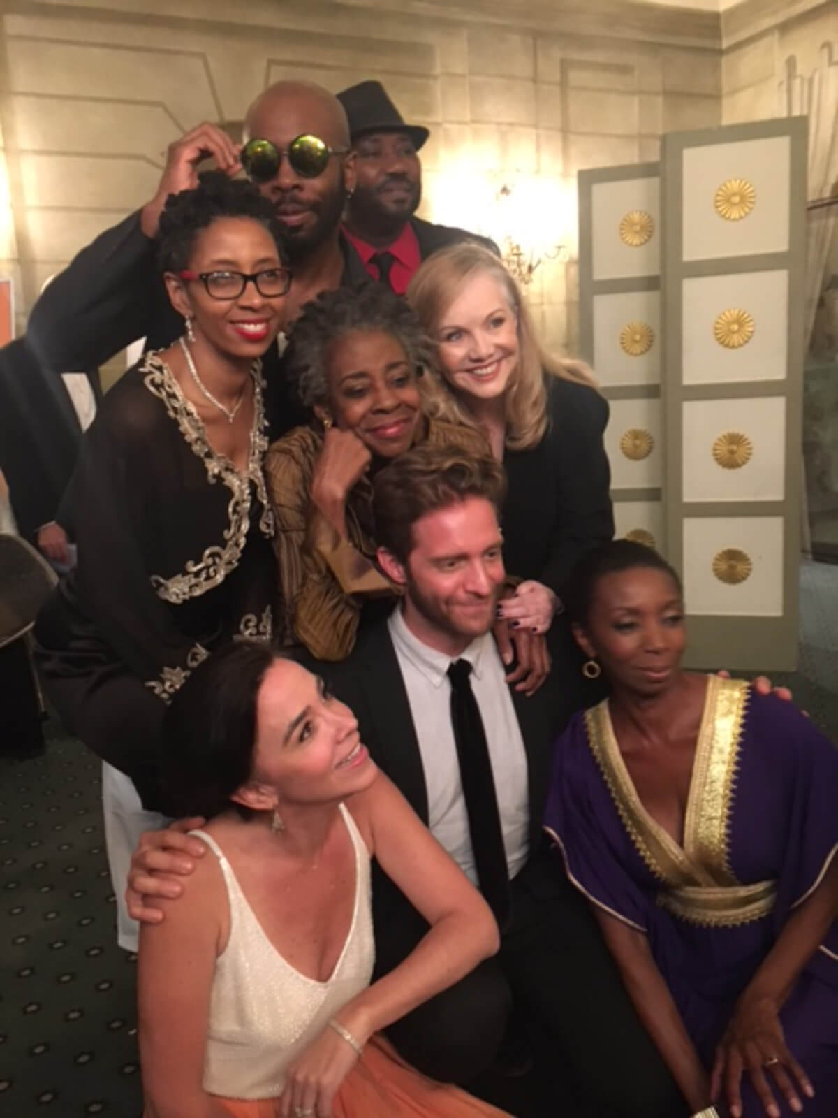 Full cast of Dot with Susan Stroman in a candid photo.