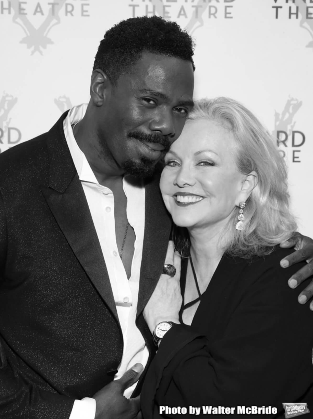 Susan Stroman and playwright Colman Domingo hug for a picture at The Vineyard Theatre