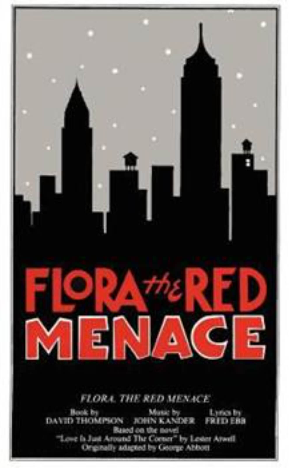 A poster with silhouetted skyline of New York City and red logo for Flora the Red Menace