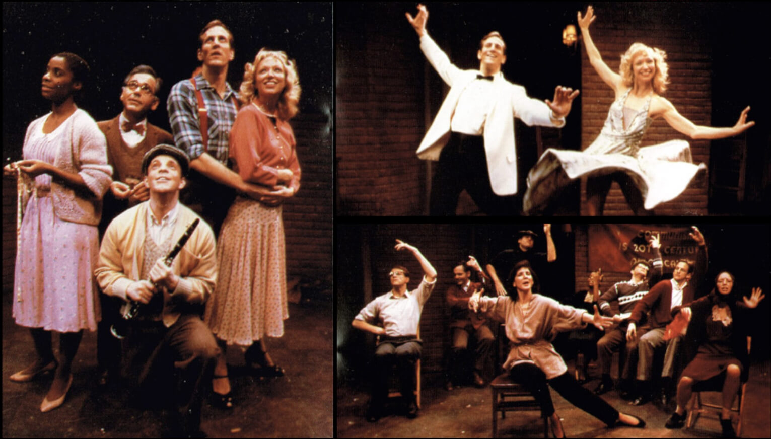 A photo collage featuring various musical numbers and the cast from Flora the Red Menace