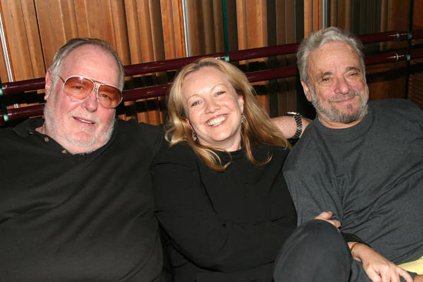 A photo of Paul Gemignani, Susan Stroman, and Stephen Sondheim, the award-winning music director, director, and composer.