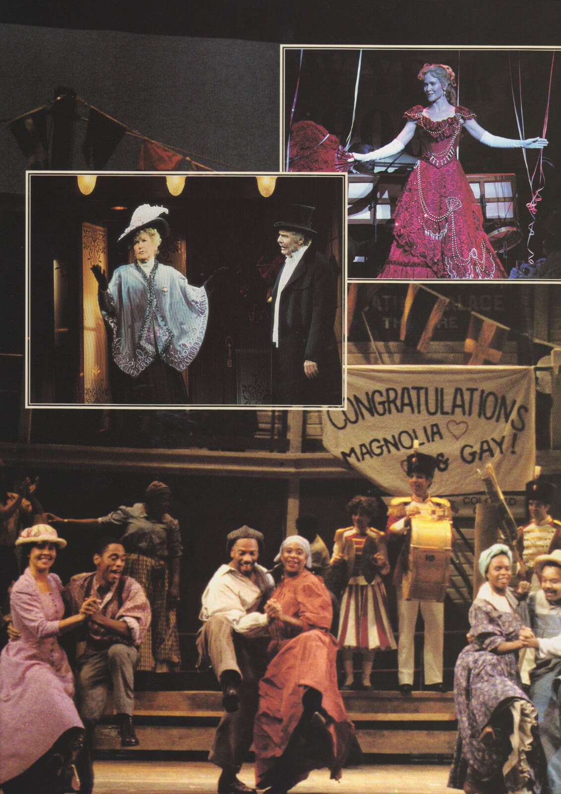 A collage of characters. It shows how people celebrate life — one with music and some dancing albeit not extravagantly dressed; another in beautiful gowns, hats, and suits.