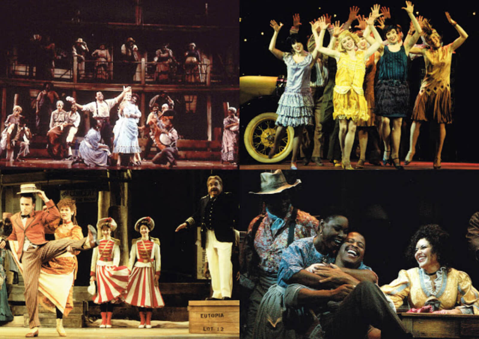 A collage of Charleston Ladies happily dancing in fancy outfits, with arms up in the air, alongside other artists celebrating life in different ways — one is through a simple embrace; another through joyous banjo performances.