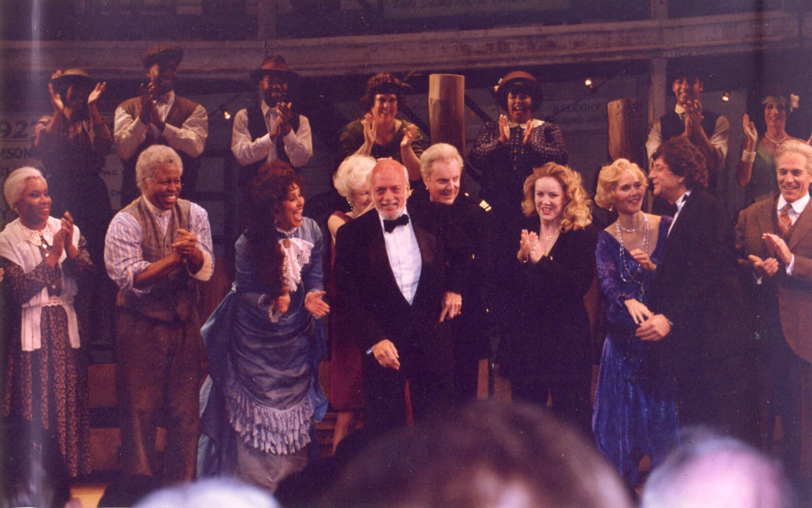 Hal Prince and Susan Stroman with the company of Show Boat on Opening Night in NY.